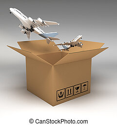boîtes, carton, illustration, 3d