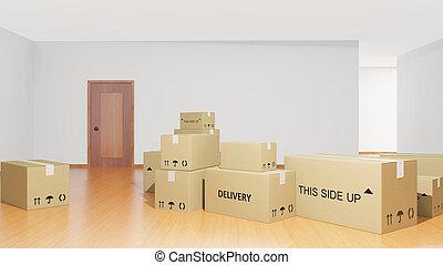 boîtes carton, intérieur, maison