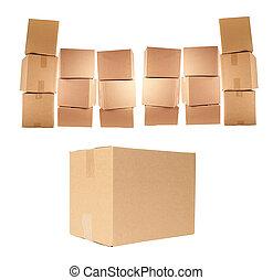 boîtes, carton, isolé
