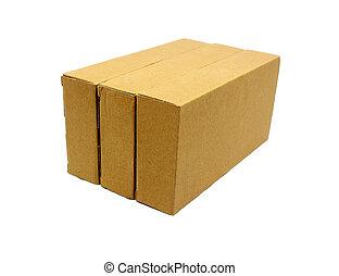 boîtes, carton, isolé, blanc