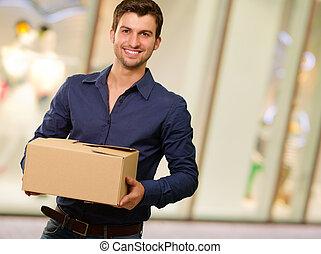 boîtes, carton, jeune, tenue, homme