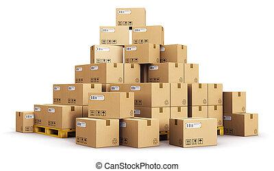 boîtes, carton, palettes, expédition, tas
