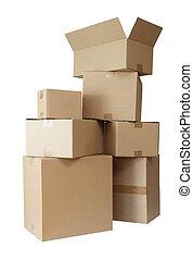 boîtes, carton, pile, paquet