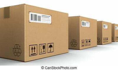 boîtes, carton, rang