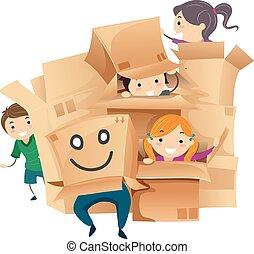 boîtes, carton, stickman, gosses