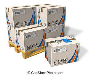 boîtes carton, sur, palette