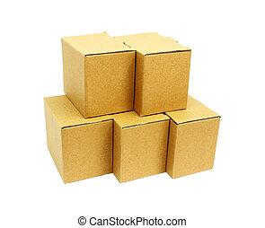boîtes, carton, tas, fond blanc