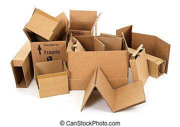 boîtes, carton, tas