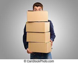 boîtes, carton, tenue, homme