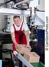 boîtes, ceinture, ouvrier, emballage, convoyeur