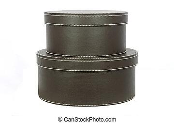boîtes, chapeau, deux