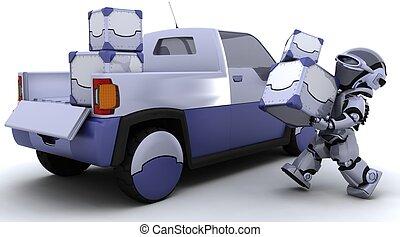 boîtes, chargement, camion, robot, dos