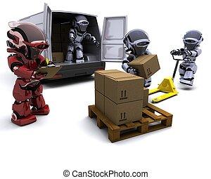 boîtes, chargement, fourgon, robot, expédition