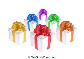 boîtes, coloré, cadeau