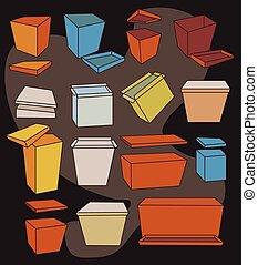 boîtes, coloré, collection