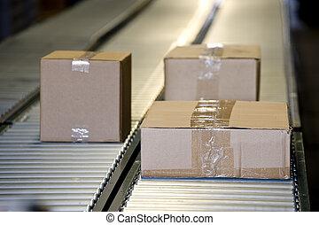 boîtes, convoyeur, expédition, ceinture