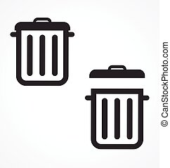 boîtes, déchets, vecteur, déchets, casiers, déchets ménagers, icônes