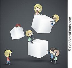 boîtes, desig, vecteur, kids., blanc
