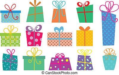 boîtes, dessin animé, cadeau