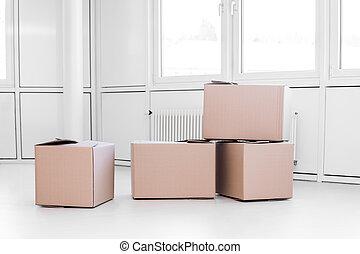 boîtes, en mouvement, lot