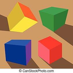 boîtes, ensemble, coloré