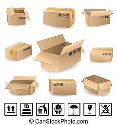 boîtes, ensemble, expédition