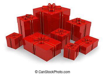 boîtes, ensemble, rouges, cadeau