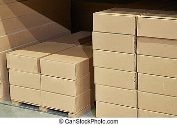 boîtes, entrepôt, stocké, piles