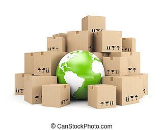 boîtes, global, carton, tas, delivery.