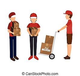 boîtes, homme, conception, isolé, livrer