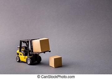 boîtes, isolé, livrer, projet, start-up, camion, remplir, apporter, commerce, transport, électrique, gris, fond couleur, photo, sombre, professionnel, sur, pastel, petit