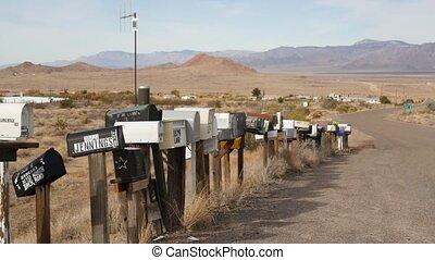 boîtes lettres, aride, arisona, touriste, grunge, retro, métal, intersection, 66., postbox, goutte, nostalgique, rang, adresse, vendange, pilier, bord route, usa., route, parcours, postal, démodé, boîtes, désert