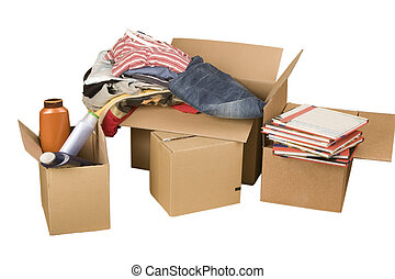 boîtes, livres, transport, carton, vêtements