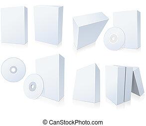 boîtes, logiciel, cd