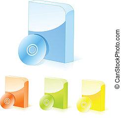 boîtes, logiciel, multicolore, cd
