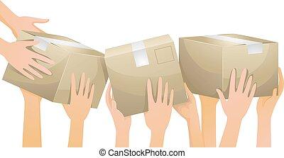 boîtes, mains, volontaire