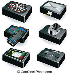 boîtes, noir, collection