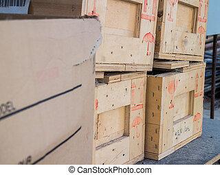 boîtes, pallet., carton