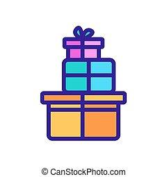 boîtes, pile, icône, vecteur, dons, contour, illustration
