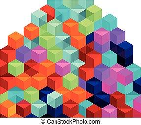 boîtes, piles, coloré