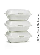 boîtes, plat à emporter, styrofoam
