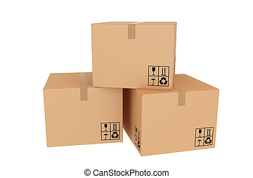 boîtes, plusieurs, fermé, carton