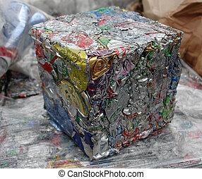 boîtes, prêt, aluminium, recyclage