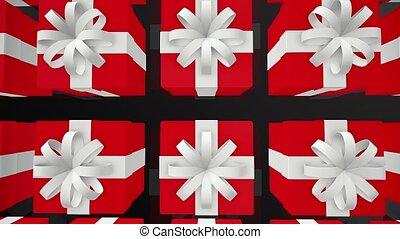 boîtes, rangées, rouges, cadeau