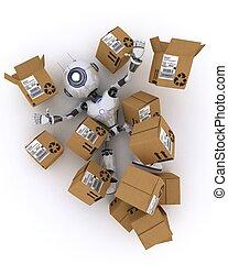 boîtes, robot, expédition