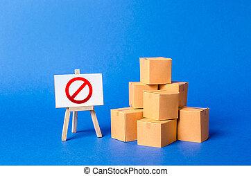 boîtes, rouges, importation, pile, vendre, embargo, symbole, business., interdiction, commercer, stand, import., tas, carton, restriction, incapacité, no., marchandises, propriété, signe, wars., produits