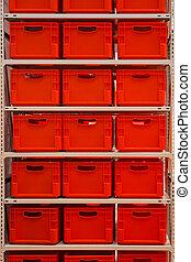 boîtes, rouges