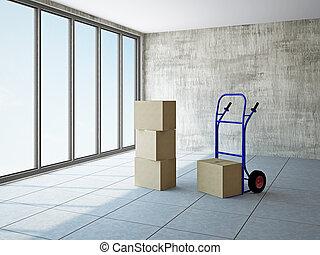 boîtes, salle vide, pushcart