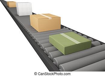 boîtes, tapis roulant