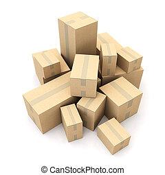 boîtes, tas